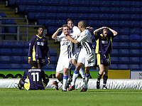 Photo: Greig Cowie.<br /> 13/09/2003.<br /> Nationwide League Division 1. Wimbledon v Wigan Athletic, Selhurst Park.<br /> Geoff Horsfield celebrates putting Wigan 3 up