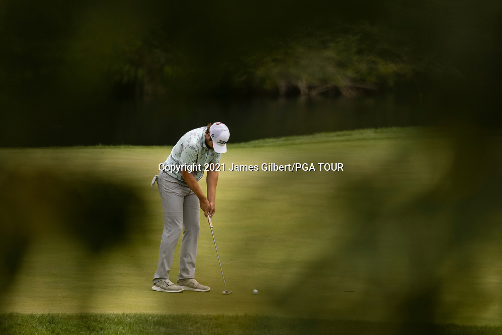 NEWBURGH, IN - SEPTEMBER 04: Peter Uihlein putts on the 16th green during the third round of the Korn Ferry Tour Championship presented by United Leasing and Financing at Victoria National Golf Club on September 4, 2021 in Newburgh, Indiana. (Photo by James Gilbert/PGA TOUR via Getty Images)