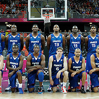 29 July 2012: Team France poses prior to a 98-71 Team USA victory over Team France, during the men's basketball preliminary, at the Basketball Arena, in London, Great Britain.