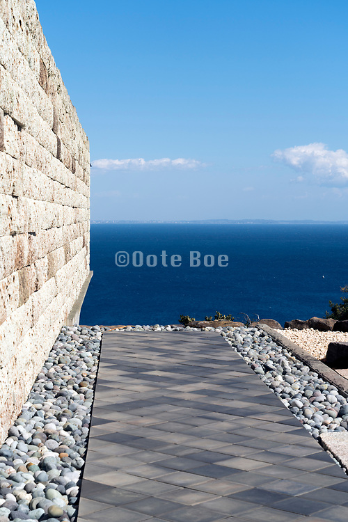 the Odawara Art foundation Enoura observation with the 100 meter Gallery Oya stone wall Japan