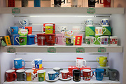 2008 Olympic Games official mugs in souvenir shop, Wangfujing Street, Beijing, China