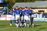 Matlock Town is celebrating their fourth goal of the match during the Northern Premier League match between Matlock FC and Ashton United at the Proctor Cars Stadium on October 10th, 2020 in Matlock, Derbyshire. Local fans welcomed to watch the match maintaining Government's Covid-19 guidelines. (VXP Photo/ Shaun Hardwick)