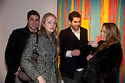 HUGO DESPOUX; LEONORE DICKER; EMANUEL DICKER; NICHOLAS CROWHURST-THORNE, Fired Up, Exhibition of work by Joe Clark, Lauren Cotton, Rory McCartney, David Jones and Farid Rasulov. Gazelli Art House. Wakefield st. London. WC1. 10 February 2011. -DO NOT ARCHIVE-© Copyright Photograph by Dafydd Jones. 248 Clapham Rd. London SW9 0PZ. Tel 0207 820 0771. www.dafjones.com.