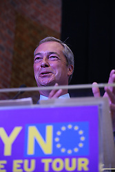 © Licensed to London News Pictures. 04/09/2015. London, UK. United Kingdom Independence Party (UKIP) leader Nigel Farage launches his 'Say No to EU referendum' tour and campaign. Photo credit: Peter Macdiarmid/LNP