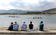 Marathon, GREECE, Spectators watch the afternoon repechage, for men's fours at the FISA European Rowing Championships.  Lake Schinias Rowing Course, FRI 19.09.2008  [Mandatory Credit Peter Spurrier/ Intersport Images] , Rowing Course; Lake Schinias Olympic Rowing Course. GREECE