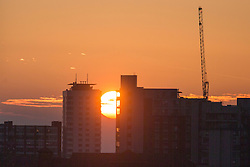 © Licensed to London News Pictures. 15/03/2016. Leeds UK. Picture shows this morning's sunrise over the city of Leeds. Photo credit: Andrew McCaren/LNP