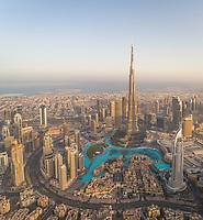 Aerial view of Burj Khalifa skyscraper and cityscape of Dubai, UAE.