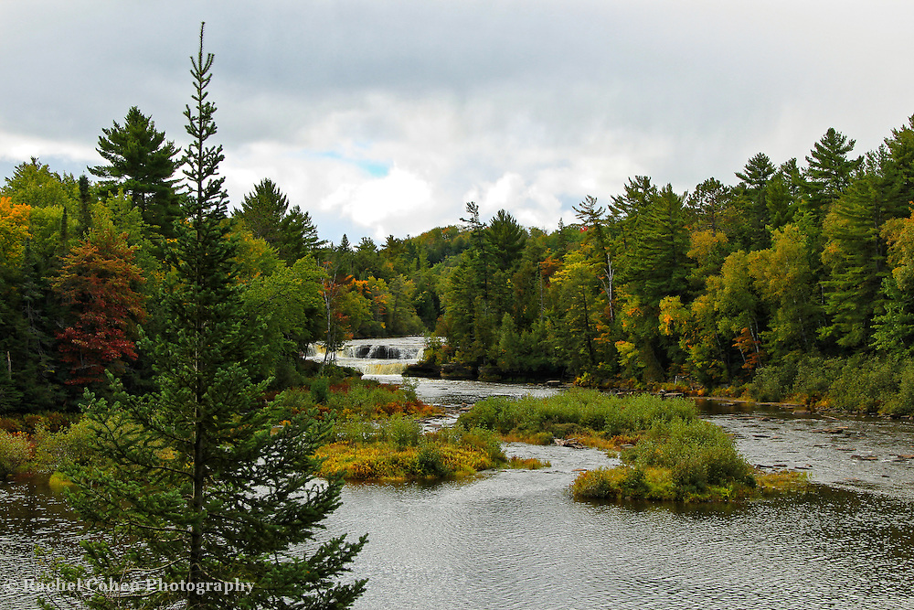"""""""Falls End""""<br /> <br /> Lower Tahquamenon Falls and river during early autumn.<br /> <br /> Waterfalls by Rachel Cohen"""