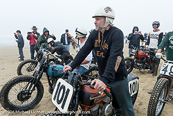 Steve Goushian on his 1945 Harley-Davidson WL Flathead ready to race at TROG West - The Race of Gentlemen. Pismo Beach, CA, USA. Saturday October 15, 2016. Photography ©2016 Michael Lichter.