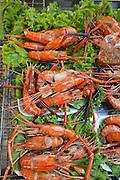 Mar. 7, 2009 -- BANGKOK, THAILAND: Grilled prawns for sale on a street in Bangkok, Thailand.  Photo by Jack Kurtz / ZUMA Press