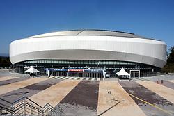 PYEONGCHANG, Oct. 30, 2017  Photo taken on Oct. 30, 2017 shows the Gangneung Indoor Ice Rink for the PyeongChang Winter Olympic Games 2018, in Pyeongchang, South Korea. (Credit Image: © Geng Xuepeng/Xinhua via ZUMA Wire)