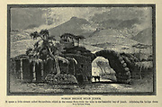 Wood engraving of the Roman Bridge near Juneh [The Leontes Bridge near Jounieh Lebanon] from 'Picturesque Palestine, Sinai and Egypt' by Wilson, Charles William, Sir, 1836-1905; Lane-Poole, Stanley, 1854-1931 Volume 3. Published in by J. S. Virtue and Co 1883