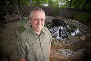 Auther Orson Scott Card in his garden in Greensboro North Carolina.