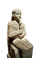 """Ancient Egyptian statue of Ptah - limestone - New Kingdom. 18th Dynasty, reign of Amenhotep III (1390 - 1353 BC), Karnac. Egyptian Museum, Turin.  white background<br /> <br /> Large statue of Egyptian gods are rare and most of them are part of building designs. This imposing statue of Ptah was probably made for the """"Temple of Millions of Years"""", on the west bank of Thebes, promoted by Amenhotep III . When the temple was eventually abandoned its statues were reused in other temples in the region. Drovetti collection C. 87 .<br /> <br /> If you prefer to buy from our ALAMY PHOTO LIBRARY  Collection visit : https://www.alamy.com/portfolio/paul-williams-funkystock/ancient-egyptian-art-artefacts.html  . Type -   Turin   - into the LOWER SEARCH WITHIN GALLERY box. Refine search by adding background colour, subject etc<br /> <br /> Visit our ANCIENT WORLD PHOTO COLLECTIONS for more photos to download or buy as wall art prints https://funkystock.photoshelter.com/gallery-collection/Ancient-World-Art-Antiquities-Historic-Sites-Pictures-Images-of/C00006u26yqSkDOM"""