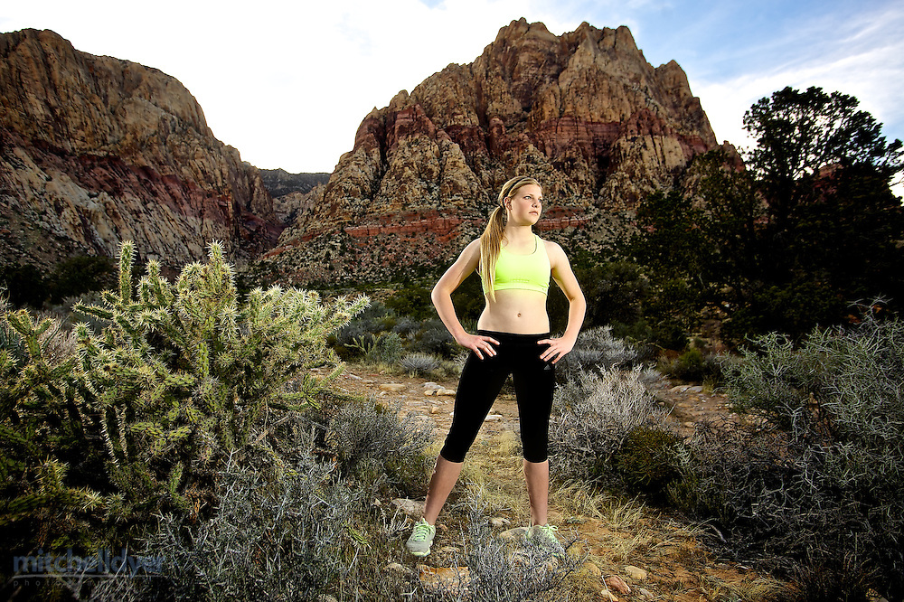 Photo of a runner at Red Rocks Canyon in Las Vegas, NV. Photo by Portland Oregon Sports Photographer Craig Mitchelldyer