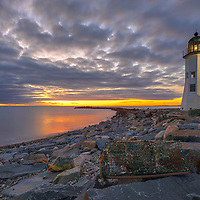 New England photography of Old Scituate Light at sunrise. This beautiful Massachusetts lighthouse is located on Cedar Point in Scituate Massachusetts.<br />