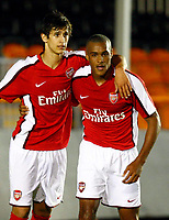 Jay Simpson celebrates his goal with Rui Fonte ( Arsenal ). Arsenal Reserves v Stoke City Reserves Barclays Premier Reserve League South at Underhill Stadium Barnet 06/10/2008<br /> Credit Colorsport / Kieran Galvin