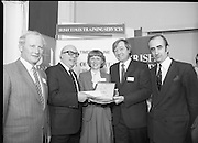 Typist Of The Year.1983.17.11.1983.11.17.1983.17th november 1983..Ms Paula Sommers won the award of Typist Of The Year which was jointly sponsored by The Irish Times and B & I Lines..Photograph of Ms Paula Sommers being congratulated on her success by,from Left,Mr Peter Coffey,B&I lines,Mr Eddie Kelly, Dept of Education, Mr Des Bury,Irish Times and Mr David Dillon,I.D.L...
