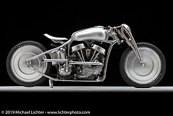 Chankla Veloz by Cristian Sosa, Sosa Metalworks, is a completely custom made 1950 Panhead that was inspired by the architecture of Paris where I would ride trains everyday and see stairway entrances and walls surrounded by art nouveau / Art Deco styling. Photographed by Michael Lichter in Sturgis, SD. July 31, 2019. ©2019 Michael Lichter