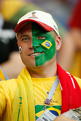 June 17, 2018 - Rostov Do Don, Rússia - ROSTOV DO DON, RO - 17.06.2018: BRAZIL VS SWITZERLAND - Fan with painted face during match between Brazil and Switzerland valid for the first round of group E of the 2018 World Cup held at the Rostov Arena in Rostov on Don, Russia. (Credit Image: © Marcelo Machado De Melo/Fotoarena via ZUMA Press)
