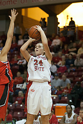 26 November 2005: Amber Shelton pulls up for a shot before the defense can arrive.The Illinois State Redbirds were triumphant over the Northern Illinois Huskies 60 - 50 at the final buzzer.  The game was played at Redbird Arena on the campus of Illinois State University in Normal IL