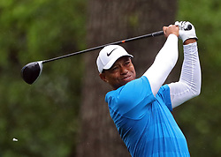 April 7, 2018 - Augusta, GA, USA - Tiger Woods hits from the 2nd tee during the third round of the Masters Tournament on Saturday, April 7, 2018, at Augusta National Golf Club in Augusta, Ga. (Credit Image: © Curtis Compton/TNS via ZUMA Wire)