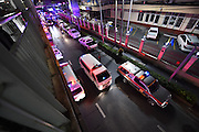 Aug. 17, 2015 - Bangkok, Thailand - <br /> <br /> Huge Explosion Rocks Bangkok Landmark<br /> <br /> An ambulance transports injured people due to an explosion in downtown Bangkok, capital of Thailand, on Aug. 17, 2015. At least 15 people were killed and more than 80 others injured in an explosion in downtown Bangkok on Monday night, according to local media. <br /> ©Exclusivepix Media