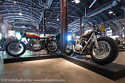 A pair of Yamaha XS-650's. The Rattler, a 1977 from Heath Reed of River Rat Cycle Fab on the left and to the right, Kacy Elkins 1979 on Saturday in the Handbuilt Motorcycle Show. Austin, TX, USA. April 9, 2016.  Photography ©2016 Michael Lichter.