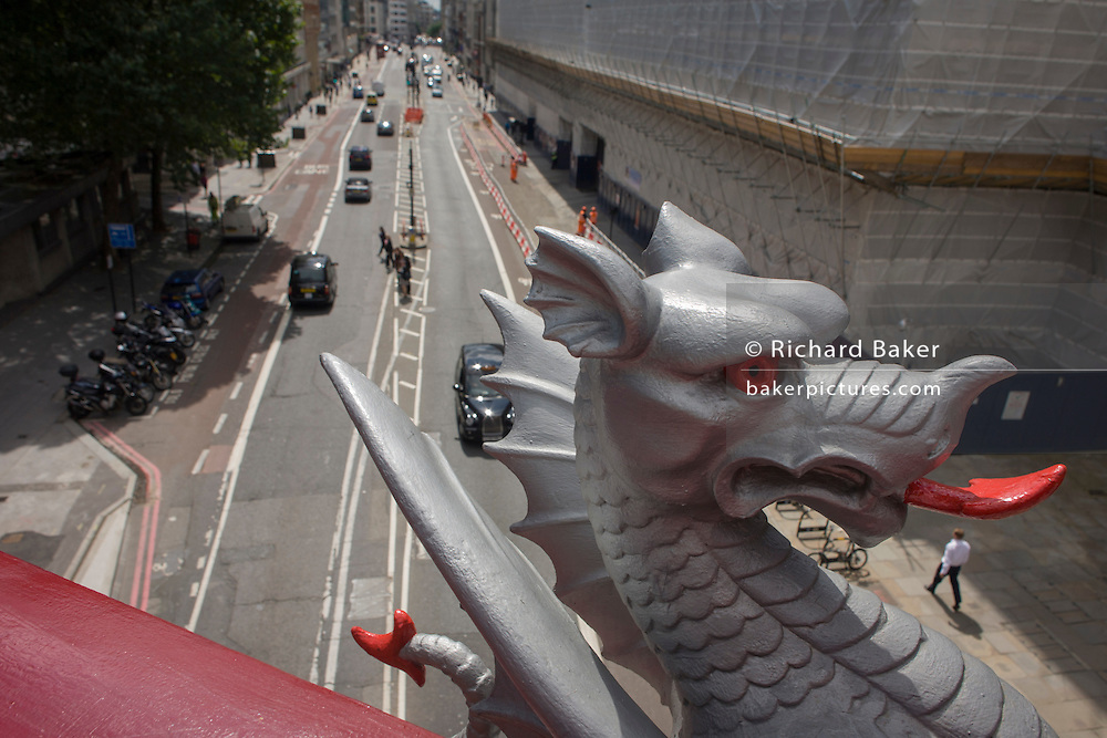 City of London Griffin looks over Farringdon Road.