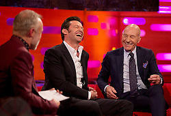 (left to right) Graham Norton, Hugh Jackman and Patrick Stewart during filming of the Graham Norton Show at The London Studios.