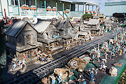 Western log town in extensive model train diorama at Mom & Pop RV Park, Farmington, New Mexico, USA.