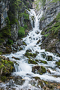 Vallesinella Falls is an exceptionally beautiful series of cascades along a short trail in the Brenta Dolomites, near the ski resort of Madonna di Campiglio in the Trentino-Alto Adige/Südtirol region of Italy, Europe. UNESCO honored the Dolomites as a natural World Heritage Site in 2009.