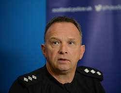 Pictured: Chief Inspector Arron Clinkscales, who is leading the investigation.<br /> <br /> Police and the partner of missing Dalkeith man Ross Taylor, who was last seen on the 31st of March, held an appeal at Dalkeith police station. <br /> © Dave Johnston / EEm
