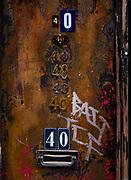 House (number 40 repeated 7 times) on Penton Street, Islington, London, UK.