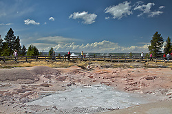 Fountain Paint Pot in Yellowstone National Park. The Fountain Paint Pot is named for the reds, yellows and browns of the mud in this area. The differing colors are derived from oxidation states of the iron in the mud.
