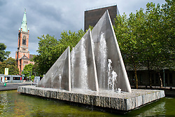 Modern fountain in central Dusseldorf in Rhineland-Westphalia Germany