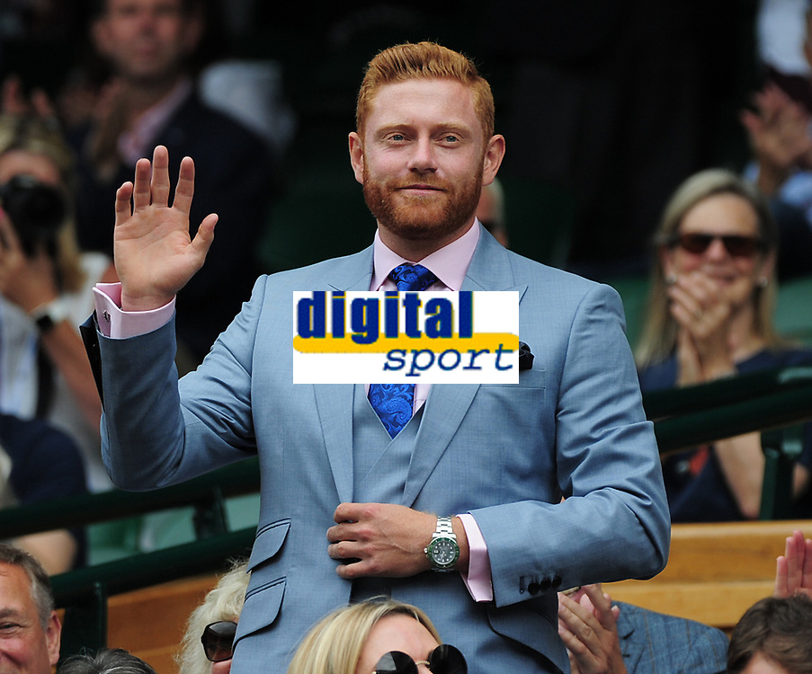 Tennis - 2019 Wimbledon Championships - Week One, Saturday (Day Six)<br /> <br /> Mens Singles, 3rd Round <br /> Sports Men and Women in the Royal Box on Centre Court<br /> <br /> England Cricketer Jonny Bairstow<br /> <br /> COLORSPORT/ANDREW COWIE
