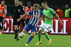 Football: Germany, 1. Bundesliga, Berlin, 16.02.2014<br />Per Skjelbred (Hertha BSC Berlin) - Ivan Perisic (VFL Wolfsburg)<br /> copyright: pixathlon