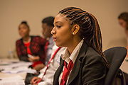 Purchase, NY – 31 October 2014. Early College High School student Victoria Rainford making a point. The Business Skills Olympics was founded by the African American Men of Westchester, is sponsored and facilitated by Morgan Stanley, and is open to high school teams in Westchester County.