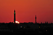 Israel, Negev, Rahat, a spire of a mosque at sunset