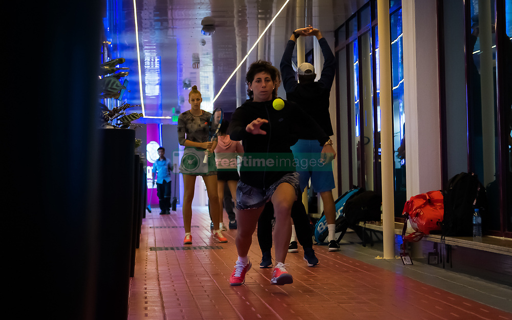 February 13, 2019 - Doha, QATAR - Carla Suarez Navarro of Spain warms up for her second-round match at the 2019 Qatar Total Open WTA Premier tennis tournament (Credit Image: © AFP7 via ZUMA Wire)