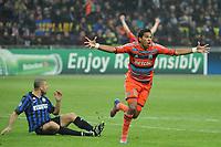 FOOTBALL - UEFA CHAMPIONS LEAGUE 2011/2012 - 1/8 FINAL - 2ND LEG - INTER MILAN v OLYMPIQUE MARSEILLE - 13/03/2012 - PHOTO PHILIPPE LAURENSON / DPPI - JOY BRANDAO AFTER GOAL (OM)