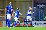 Andy Cannon celebrates 2-1 during the EFL Cup match between Rochdale and Chesterfield at Spotland, Rochdale, England on 9 August 2016. Photo by Daniel Youngs.