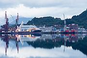 Early morning mood at Kleven Yard, nearby Ulsteinvik, Norway    Tidlig morgenstemning på Kleven Verft ved Ulsteinvik, Norge med Rem Poiner ved kai.