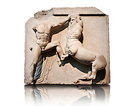Sculpture of Lapiths and  Centaurs battling from the Metope of the Parthenon on the Acropolis of Athens. Also known as the Elgin marbles. British Museum London. .<br /> <br /> If you prefer to buy from our ALAMY STOCK LIBRARY page at https://www.alamy.com/portfolio/paul-williams-funkystock/greco-roman-sculptures.html . Type -    Elgin    - into LOWER SEARCH WITHIN GALLERY box - Refine search by adding a subject, place, background colour, etc.<br /> <br /> Visit our ROMAN WORLD PHOTO COLLECTIONS for more photos to download or buy as wall art prints https://funkystock.photoshelter.com/gallery-collection/The-Romans-Art-Artefacts-Antiquities-Historic-Sites-Pictures-Images/C0000r2uLJJo9_s0