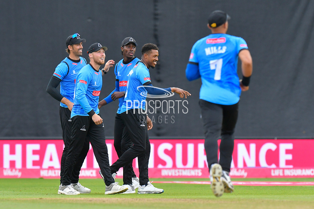 Wicket - Chris Jordan of Sussex celebrates taking the wicket of Peter Trego of Somerset during the Vitality T20 Finals Day semi final 2018 match between Sussex Sharks and Somerset County Cricket Club at Edgbaston, Birmingham, United Kingdom on 15 September 2018.