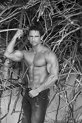 shirtless muscular man in jeans standing by tree branches in Bermuda