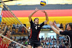 04.09.2010, Anhalt Arena, Dessau, GER, Vorbereitung Volleyball WM 2010, Laenderspiel Deutschland ( GER ) vs. Russland ( RUS ) 1:3, im Bild Simon Tischer (#4 GER), Marcus Boehme (#8 GER). EXPA Pictures © 2010, PhotoCredit: EXPA/ nph/   Conny Kurth+++++ ATTENTION - OUT OF GER +++++
