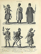 Traditional Russian Costumes Villagers, Priests, Monks and soldiers. Copperplate engraving From the Encyclopaedia Londinensis or, Universal dictionary of arts, sciences, and literature; Volume XXII;  Edited by Wilkes, John. Published in London in 1827