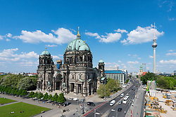 Exterior skyline view of Berliner Dom  , Berlin Cathedral and Fernsehturm or TV Tower in Mitte Berlin Germany